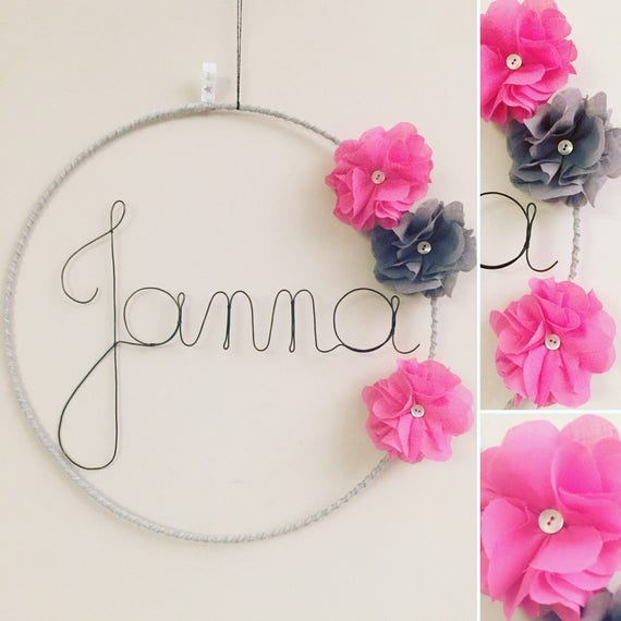 Mobile First Wire With Pink Fuschia And Grey Flower Door Plaque Custom Design Wall Decor Bedroom