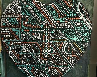 Mandala heart painting green metallic #toile #acrylique #coeur #mandalart #28x29cm #artykhacreations