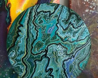 Earth # acrylicpouring #mixed media #tecniques media #bleu #canvas #canevas #20 cm #bleu #vert