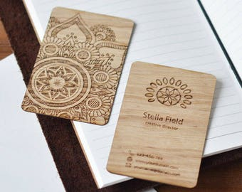 wooden business card etsy