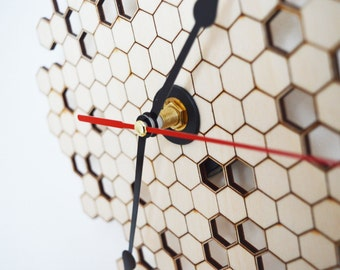 Honeycomb Clock Wall Clock, Modern Clock, Laser Cut Wood Clock, Home Decor Unique Wall Clock, Wall Decor, Wooden Clock, Kitchen Clock