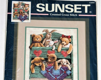 Sunset Counted Cross Stitch Animal Shelf Bears Bunnies #13684 Year 2000