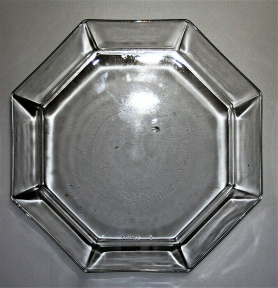 Arcoroc France Clear Glass Octogon Salad Plate Set of 4