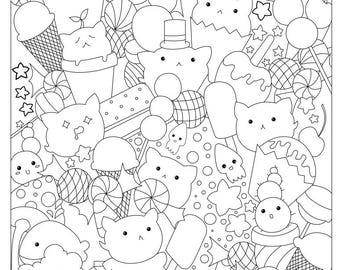Candy Coloring Page Etsy