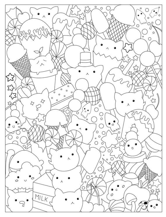 Cats And Candy Coloring Page