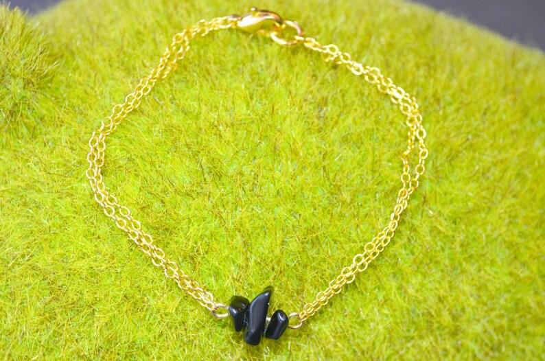 Obsidian Bracelet Dainty Black Obsidian Gold Chain Bracelet Raw Obsidian Jewelry Black Crystal Obsidian Bridesmaid Bracelet Crystal Bracelet