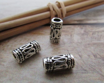 10 Pearl tribal tube in silver - 1 x 0.4 cm - 208.7