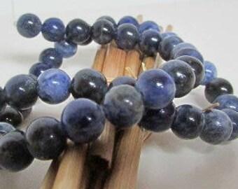 Bead, sodalite, dark blue sodalite, 10 mm, 8 mm, 6 mm - hole 1 mm - 542