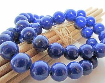 Pearl lapis lazuli, Pearl colored, Pearl gemstones, 10, 8, 6, 4 mm - 1 mm hole