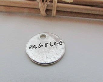 Name personalized on charm pendant 16 mm silver - engraved name - 2 mm hole - 474.22