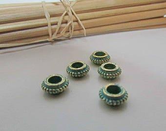 10 spacer bead 7 x 3 mm weathered verdigris metal - hole 3.5 mm - 551.7