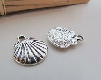 5 shell - silver - 17 x 14 mm - 2mm hole - 159.22 charm