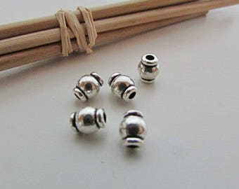 10 Pearl antique silver - 6 x 5 mm - hole 1.5 mm - 643.34
