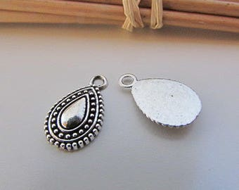 Drop 16 x 10 mm sterling silver - 2 mm hole - 26.22 6 charm