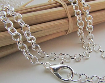 6 chains around the neck round maille in silver grey white with lobster clasp - 50 cm - 14.50