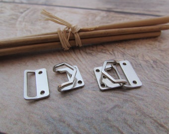 5 tie clip clasp 8 mm, 11 mm, clasp in silver - sewing