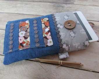 Gift card holder for small ipad case for Tablet cover quilted cotton fabric - 23 x 15 cm - 216