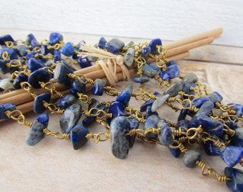 50 cm chain with Pearl, gem stone, lapis lazuli 75.50 brass chain