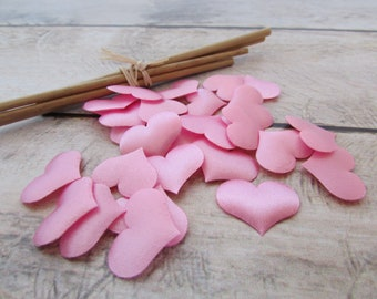 100 hearts in pink, white fabric - 2 x 1.5 cm - 1.39