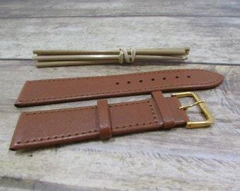 Bracelet wristwatch, 16mm, 18mm, 20 mm light brown, dark brown, black leather - with stem