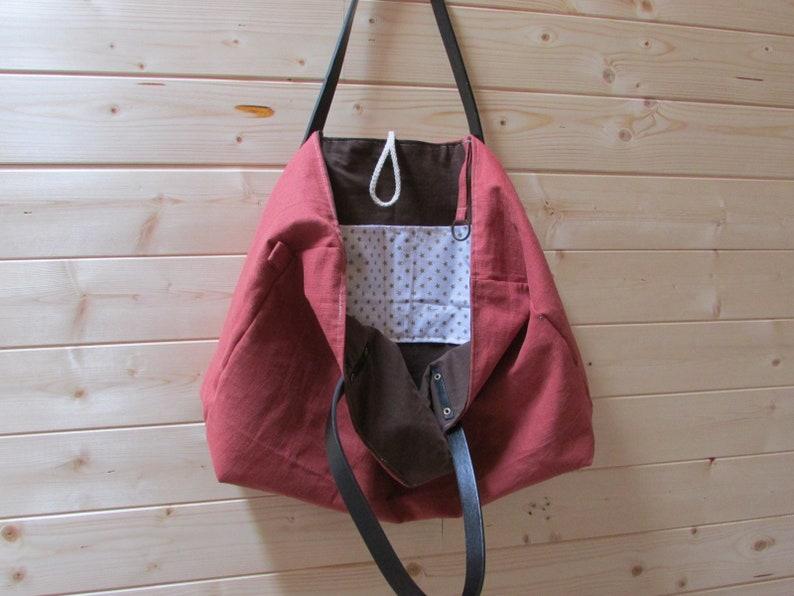 clutch lining 28 x 53 x 12 cm-153 large handbag Linen tote bag