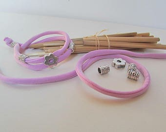 Kit Bracelet lycra 2 tone purple round bead silver metal - 78
