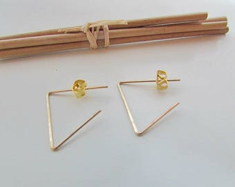 2 ear hook - Silver - Gold color 125.53 triangle design