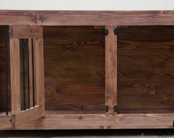 Indoor Wooden Dog Kennel - Large Double Door