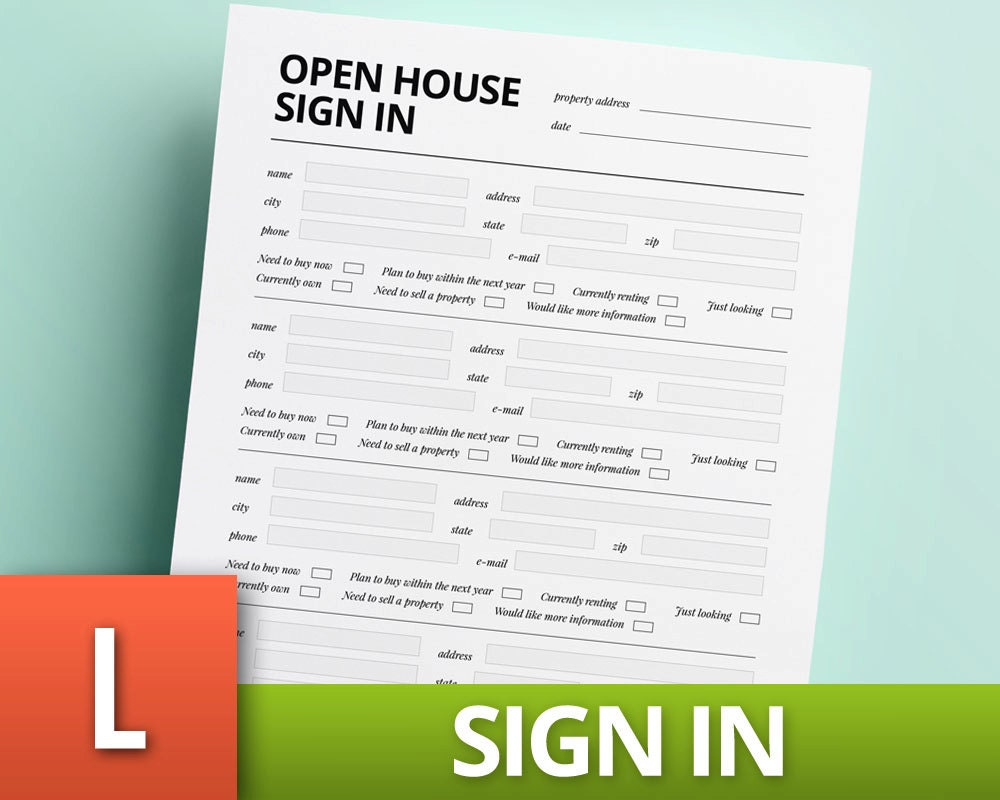 Open House Sign In Template Real Estate Template Realtor Etsy