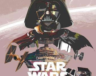 Darth Vader poster, star wars poster, star wars illustration, star wars print, star wars art, darth vader poster, wall decor, star wall art