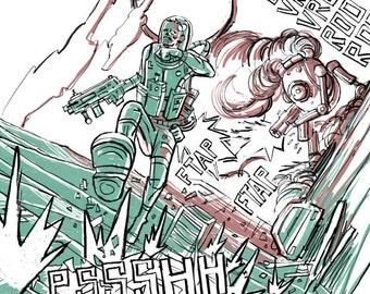 wonderland poster, futuristic poster, science fiction poster, cyberpunk poster, Mecha poster, mecha art print, robot poster, cyberpunk art