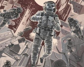 Zero-g Death Squadron poster, Science fiction poster, Military fiction poster, Futuristic art-print, Zero gravity warfare, Space exploration