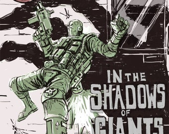In the shadows of giants, Futuristic poster, Science fiction poster, Cyberpunk poster, Mecha poster, Sci-fi poster, Sci-fi art-print