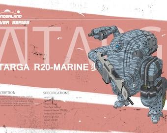 targa marine Robotic poster, futuristic vehicle poster mecha poster. real robot poster, science fiction poster, cyberpunk art print