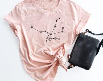e393523b95e Zodiac constellation ladies t-shirt tee custom personalised personalized  star sign aquarius scorpio taurus virgo libra pisces leo