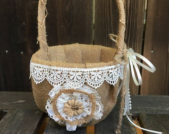 Flower Girl Basket,Rustic Wedding,Country Wedding,Shabby Chic,Burlap Basket,Burlap and Lace,Flower Girl,Flower Basket, Photo Prop, Outdoor