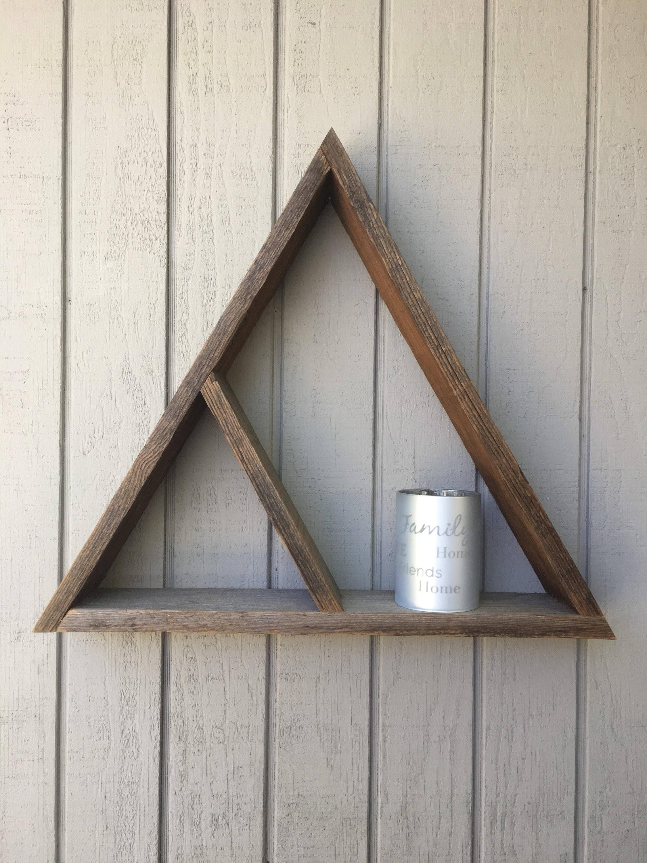 Wooden triangle shelftriangle floating shelvestrianglewooden shelfrustic shelvesgeometric decorwood wall decor rustic wall decor