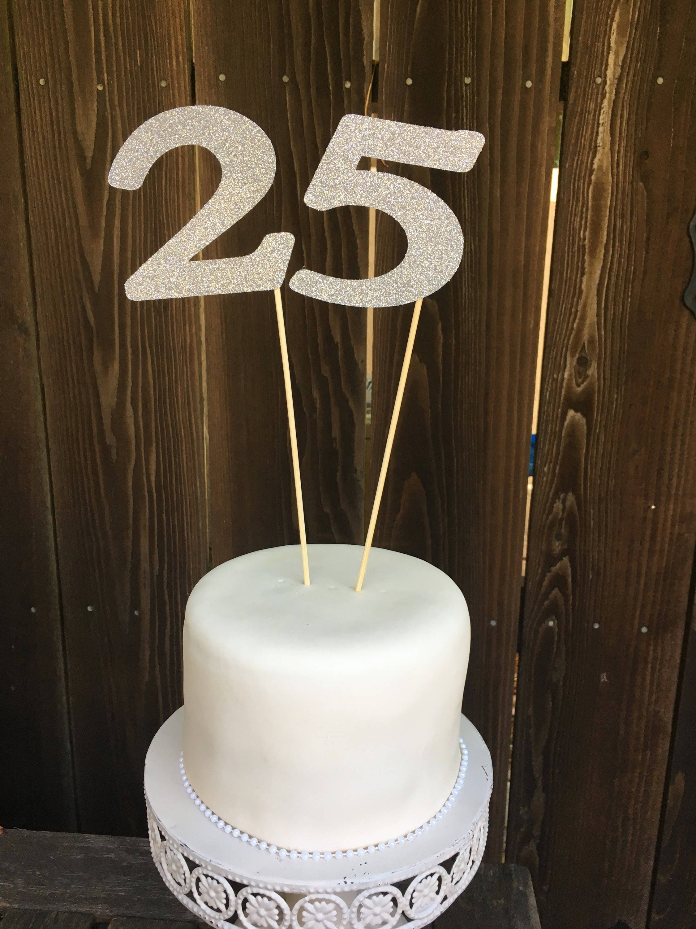 Cake Topper Glitter Number Number 25 25 Birthday 25th Birthday