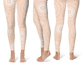 Apricot Leggings Yoga Pants, Printed Yoga Tights for Women, Peach and White Mandala Pattern