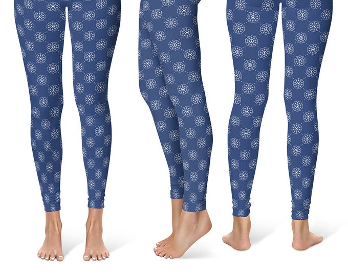 Polka Dot Leggings Yoga Pants, Printed Yoga Tights for Women, Denim Blue and White Pattern