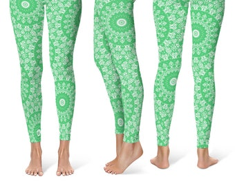 Emerald Leggings Yoga Pants, Printed Yoga Tights for Women, Green and White Mandala Pattern
