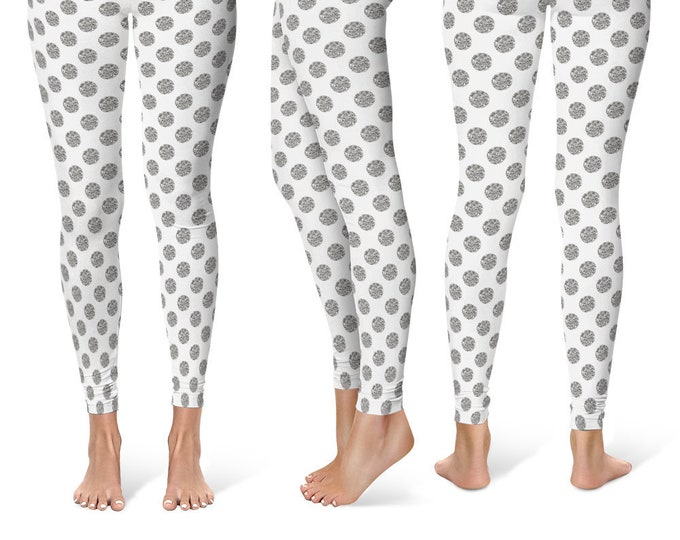 Polka Dot Leggings Yoga Pants, Printed Yoga Tights for Women, Glittery Silver and White Pattern
