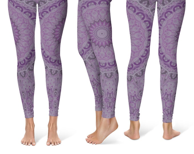 Watercolor Leggings Yoga Pants, Purple Mandala Printed Yoga Tights for Women, Festival Clothing