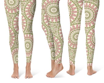 Flowery Leggings Yoga Pants, Printed Yoga Tights for Women, Rose and Olive Mandala Pattern
