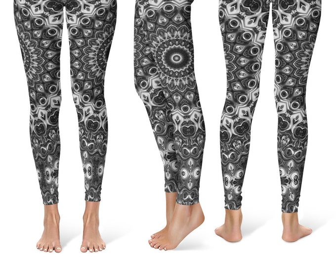 Black Leggings Yoga Pants, Mandala Printed Yoga Tights for Women, Festival Clothing, Club Wear
