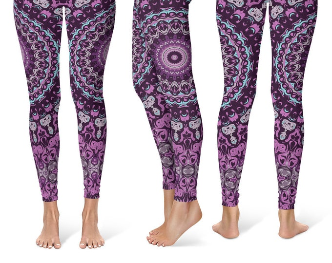 Wild Leggings Yoga Pants, Printed Yoga Tights for Women, Purple Mandala Pattern
