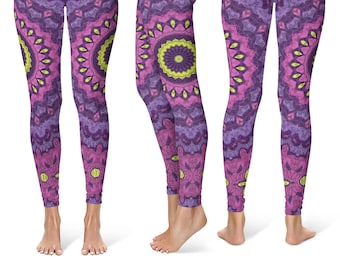 Fun and Funky Leggings, Workout Clothes for Women, Mandala Pattern Leggings Tights, Stretchy Yoga Pants