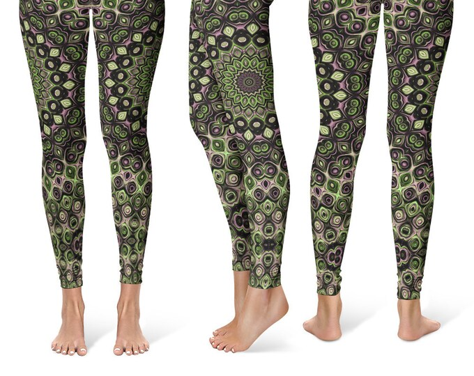 Funky Leggings Yoga Pants, Unique OOAK Gift, One of a Kind Clothing, Printed Yoga Tights for Women