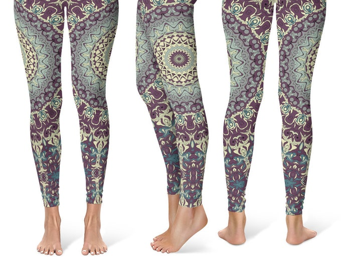 Funky Leggings Yoga Pants, Printed Yoga Tights for Women, Wild Mandala Pattern