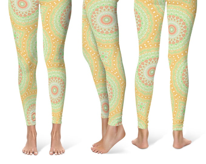 Summer Leggings Yoga Pants, Bright Mandala Printed Yoga Tights for Women, Festival Clothing